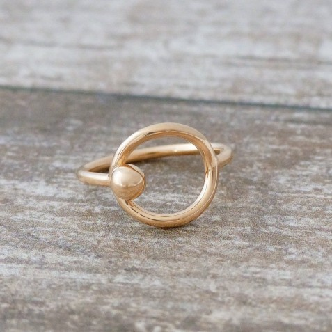 EDELWOSE ROUND BEAD GOLD-PLATED RING