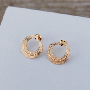 ALBAOSE GOLD-PLATED STRIATED CIRCLES EARRINGS