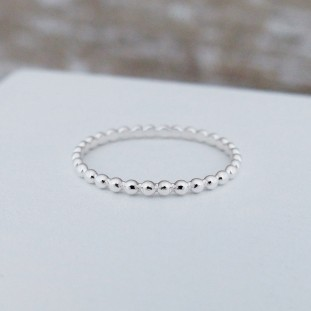 EDELWOSE SMALL BEADS SILVER RING