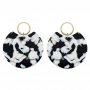 DALMAELIOSE SEMICIRCLE BLACK WHITE GOLD-PLATED EARRINGS