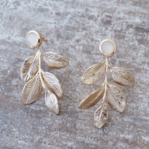 LIVIANOSE LEAF MOONSTONE AVENTURINE GOLD-PLATED EARRINGS