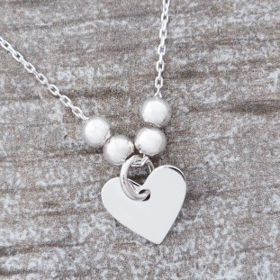 LOVEDOSE HEART BEADS SILVER NECKLACE