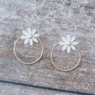 NAELIOSE PEARLY FLOWERS GOLD-PLATED EARRINGS