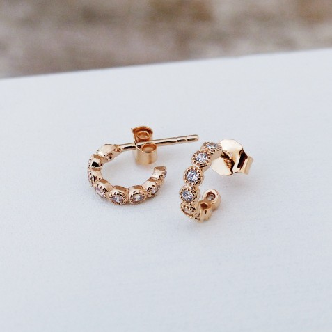 ERYTHEOSE OPEN CIRCLES ZIRCON GOLD-PLATED EARRINGS