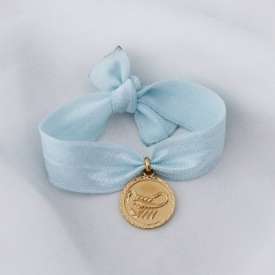 GOLD-PLATED ELASTIC SATIN RIBBON BRACELET ASTROLOGIC SIGN MEDALS