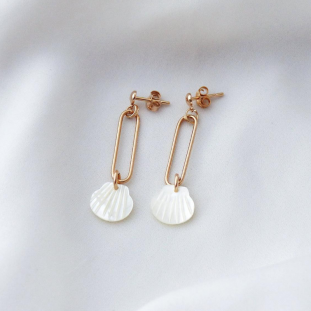 SHELL RECTANGULAR GOLD-PLATED EARRINGS SUMMER COLLECTION