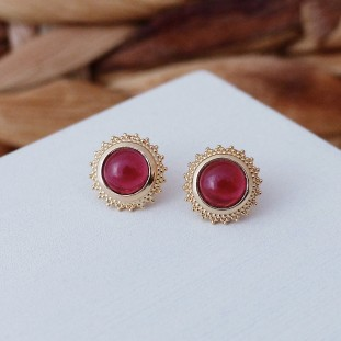 ISMEROSE RED GOLD-PLATED EARRINGS