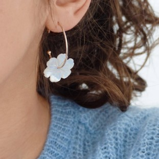 NAELIOSE PEARLY FLOWER GOLD-PLATED EARRINGS