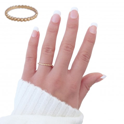 EDELWOSE SMALL BEADS GOLD-PLATED RING