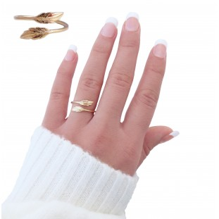 PLUMELIOSE FEATHERS GOLD-PLATED RING