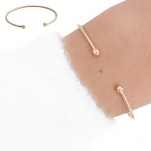 EDELWOSE TWO BEADS GOLD-PLATED BANGLE